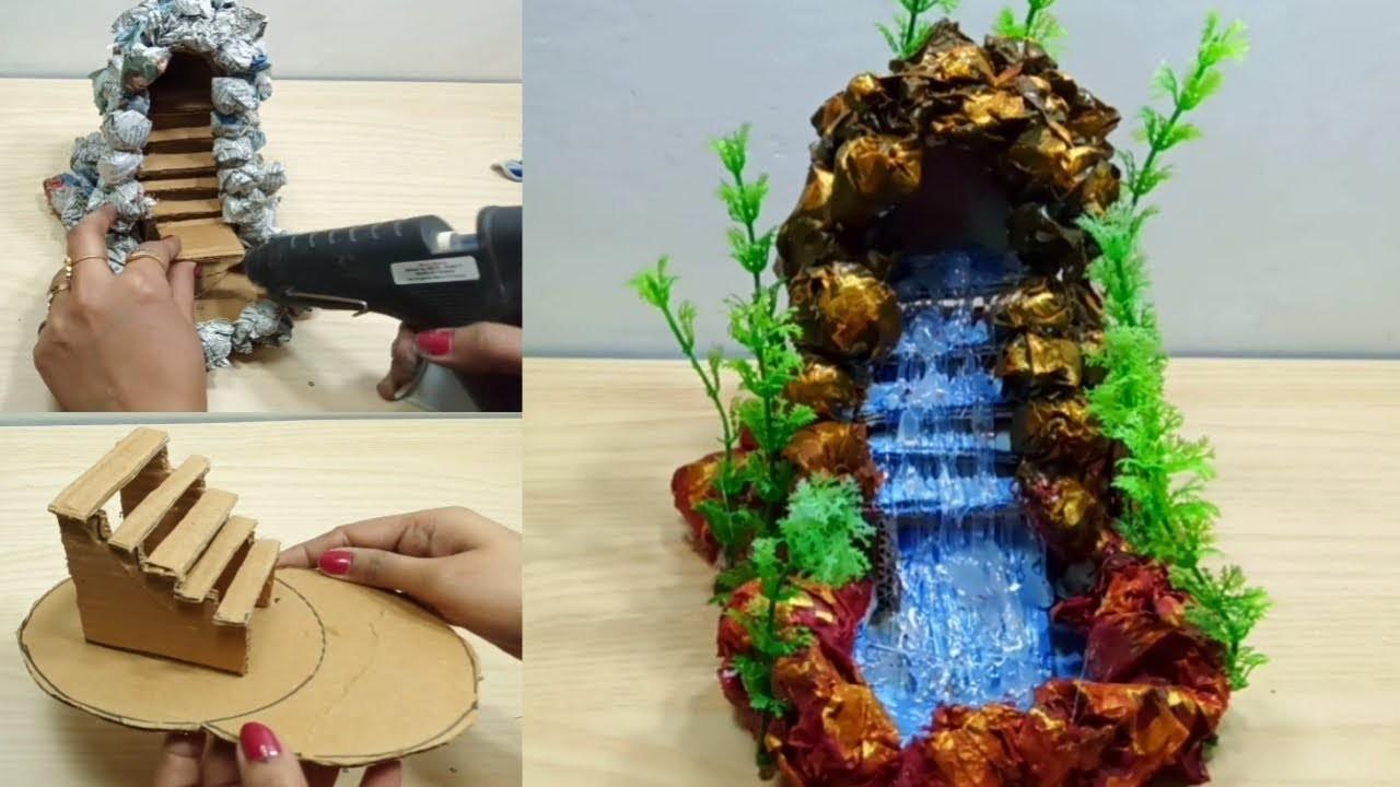 How to make waterfall fountain showpiece | p craft | Diy