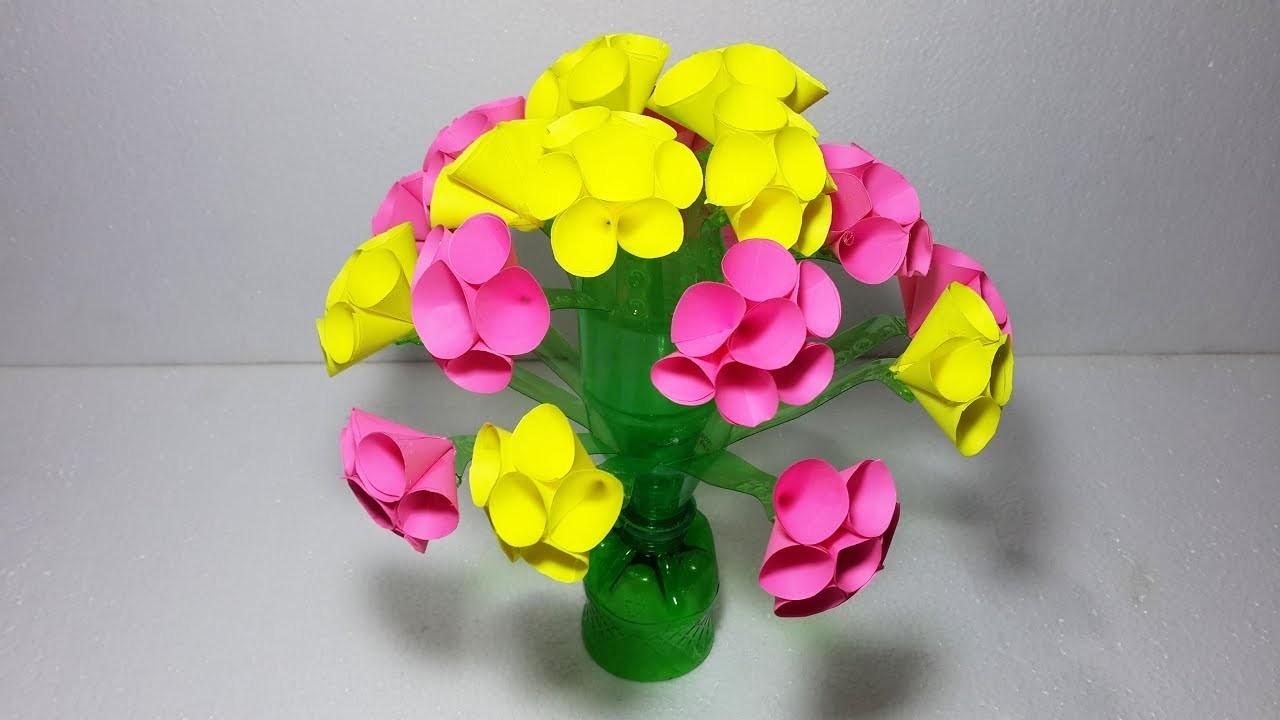 how to make flower vase with plastic bottle youtube