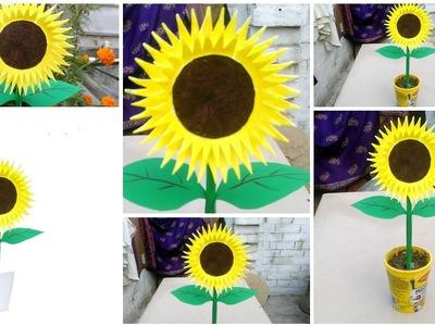 Make sunflower from disposal plate. Gk craft