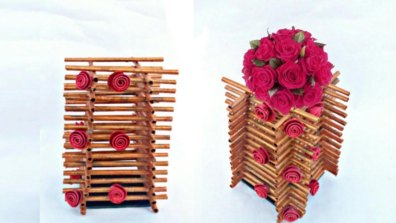 Newspaper flower vase | flower vase making | newspaper craft | HMA##250