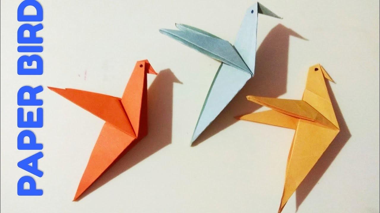 Origami bird, paper bird craft, easy paper bird making