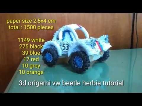 Paper craft 3d origami vw beetle herbie tutorial part 1