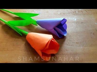 Paper Flower Stick   Diy Paper Craft   কাগজের ফুল   kagojer ful