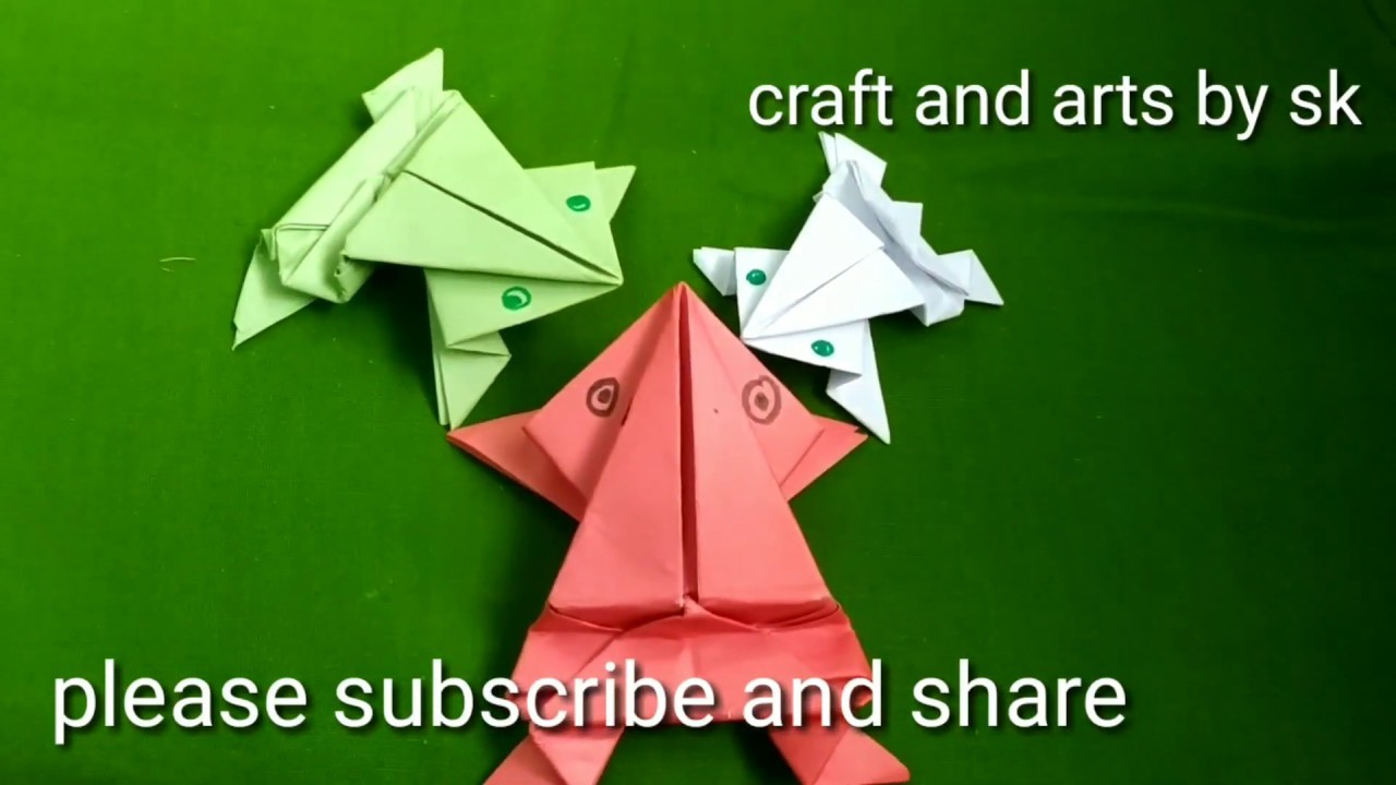 Paper origami how to make a paper frog. by  Craft and arts by sk