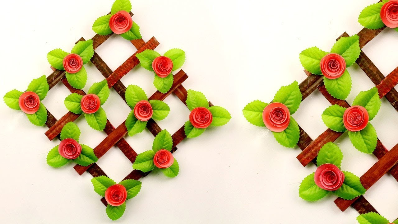 Paper Rose Wall Hanging Craft Idea For Home Decor Diy Craft Ideas