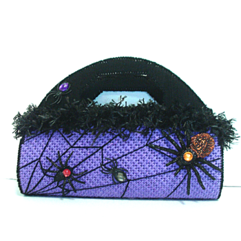 Purple and Black Halloween Spider Web Purse