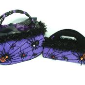 Purple and Black Halloween Spider Web Purse