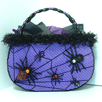 Purple and Black Spider Web Handbag
