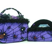 Purple and Black Spider Web Handbag