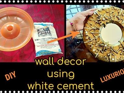 Unique wall decor craft ideas|using white cement & lid|craft ideas|wall decor diy