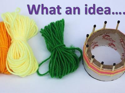 Wool art and craft ideas || DIY woolen flower with matchstick || cool craft idea