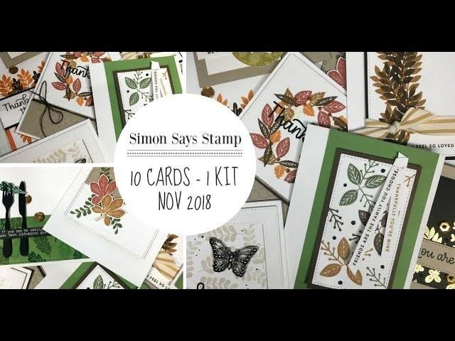 10 Cards -1 Kit. Simon Says Stamp. November 2018 Kit