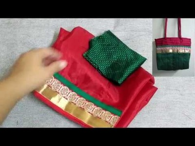 10 Minutes Indian Saree Bag, Easy and Quick bag making, Best out of waste, Reuse fabric scraps