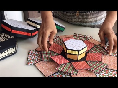 5 layer hexagonal explosion box ideas. Explosion box for Birthday. special occasion gifting ideas