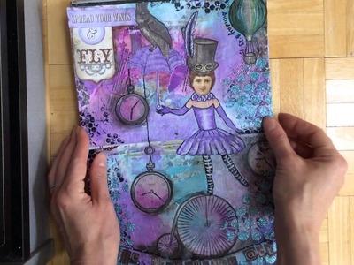 Completed mixed media art journal flip through 8.15 TOUR