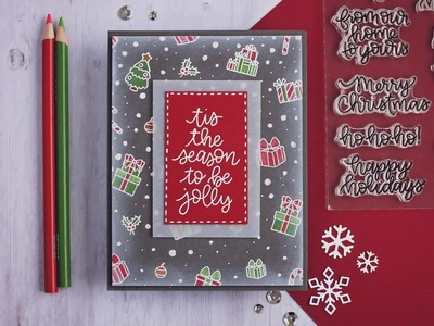 Creating a Christmas Background - Colored Pencils on Dark Cardstock