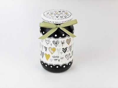 Decoupage jar - Painted jar - Decoupage tutorial - DIY - Do It Yourself