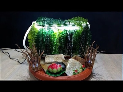 DIY waterfall fountain with lamp in 5 minutes