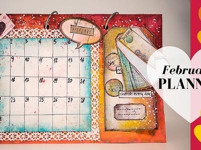 Gelatos Faber-Castell Mixed Media Background Tutorial - February Planner