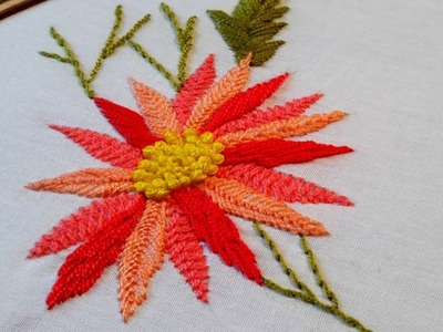 Hand embroidery flower design by cherry blossom.