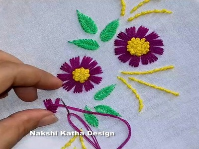 Hand Embroidery : flowers design by nakshi katha design.
