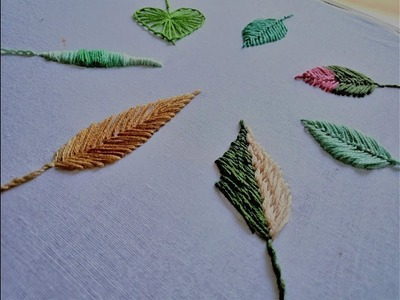 Hand embroidery. Hand embroidery leaves filling with different stitches.
