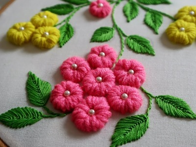 Hand, Hand Embroidery : Loose Bullion Knot ( Cushion Cover