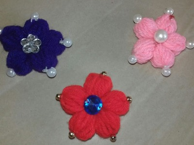 Hand embroidery making flower with simple trick. Waste wool craft, (114)
