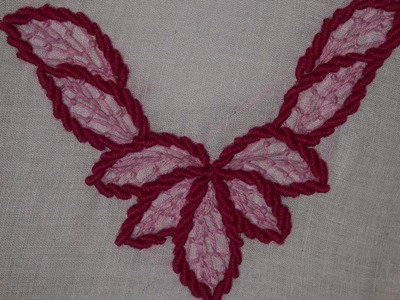 Hand Embroidery : Neckline Embroidery : Bullion Knot Stitch & Feather Stitch Embroidery
