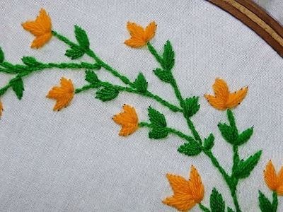 Hand embroidery : stem stitch | flower design for beginners.