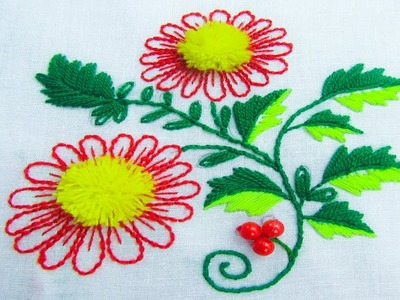 Hand Embroidery;Tassel Stitch Flower Embroidery ; Back stitch