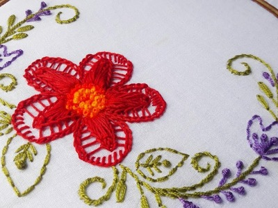 Hand Embroidery: Twisted Chain stitch flower design for cushion cover.