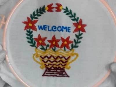 Hand Embroidery - Write Welcome in Flower Stitch