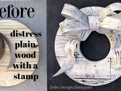 How to distress & weather wood, barn wood finish with paint IOD stamps & veneer tape