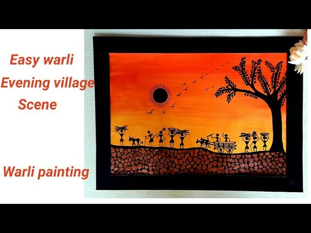 How to do warli painting | #warliart | evening village warli scene |  colours Creativity Space