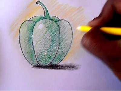 How to draw and shade Capsicum step by step