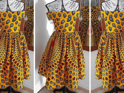 HOW TO MAKE A OFF SHOULDER GATHERED DRESS