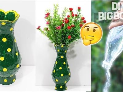 How to make Flower Vase with plastic bottle   Decoration ideas   DBB