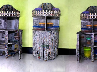 How to make Kitchen shelf| Newspaper Shelf | Best out of Waste