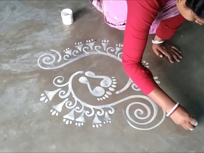 How to make Latest Laxmi Pada Alpana Designs