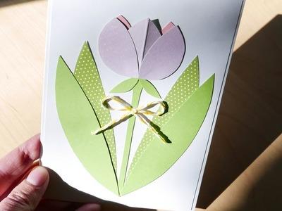 How to make : Very Easy Greeting Card with a Flower | Kartka z Tulipanem - Mishellka #311 DIY