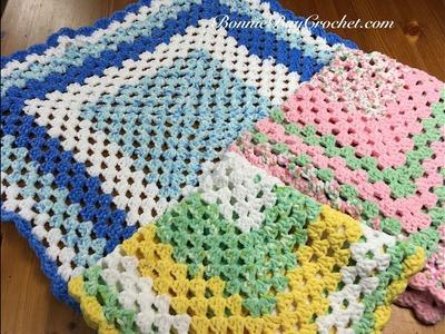 Left-Handed Easy Beginner Granny Square Baby Blanket, with Bonnie Barker