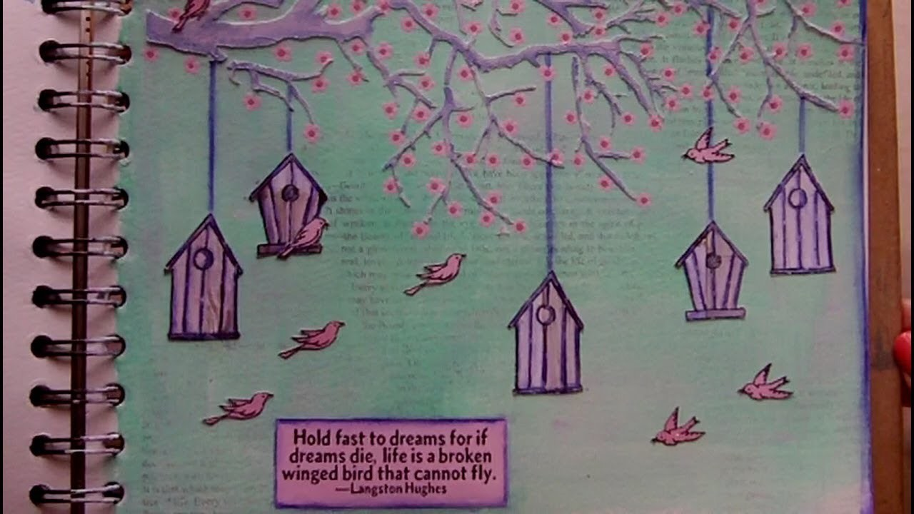 Mixed Media Art Journal Page - Birdhouses - Art Journaling