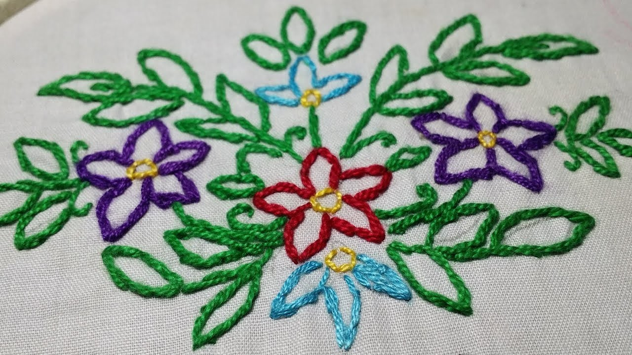 Stem Stitch With 2 Methods | Basic Embroidery Stitch For Beginners