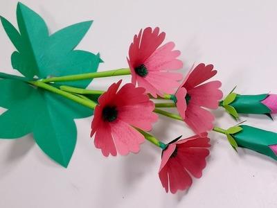Stick Paper Flower-DIY Paper Flower Making for Decoration-Stick Flower-Jarine's Crafty Creation