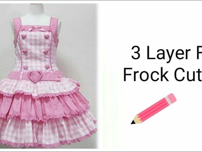 Stylish 3 Layers Frill Frock For Girls Cutting