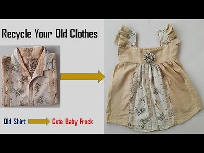 Transform Your Old Shirt To Cute Baby Frock In Just 5 Minutes