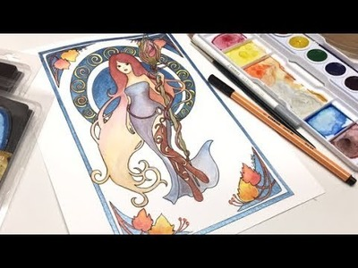 Watercolor- Smart art box- Unboxing and speed painting- Art Nouveau