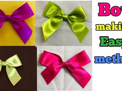 Bow making malayalam. How to make Bow in easy method. DIY fabric Bow. DIY ribbon Bow