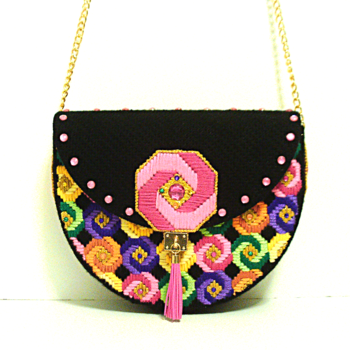 Candy Colored Jeweled Half Round Bargello Handbag
